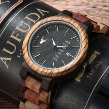 LEEEV Mens Wooden Watch Relogio Masculino Natural Colourful Wood Watch for Men