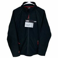 Gill Womens Microfleece Jacket Size 8 Black Red Gray Full Zip UK 12 EUR 38