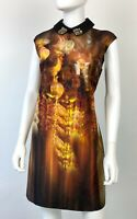 Ted Baker New 6 US 42 IT M Black Gold Cocktail Dress Zip Crystals Runway Auth