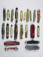 Lot (x22) Vintage Pocket Folding Knives Knife Advertising VTG