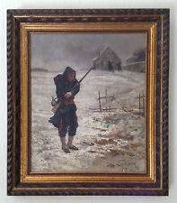 """COUTURIER Léon (1842-1935) """" Soldat transit de froid, 1879 """" Guerre Militaire"""