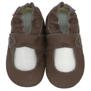 carozoo Mary Jane dark brown 6-12m soft sole leather baby shoes