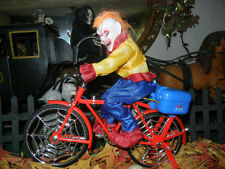 ANIMATED HAUNTED CLOWN TRICK OR TREATER ON BIKE LIGHTED MUSICAL HALLOWEEN PROP