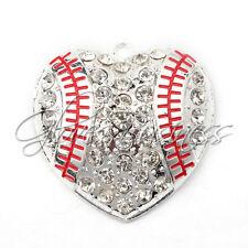 1PC New 45*45mm Heart Baseball Pendant Charm For Bubblegum Chunky Bead Necklace