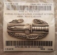 Us Army Combat Action Badge; Regulation Full Size Brushed Finish