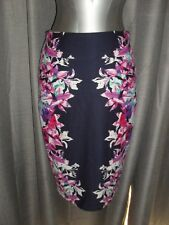 Sportsgirl size XS blue & pink floral patterned knee length fitted skirt VGC