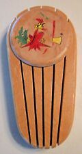 Vintage Wood Wooden Knife Holder with Rooster and Axe Ax  #1293 S