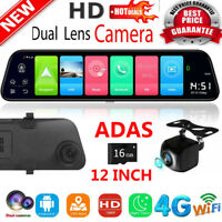 12 inch Android 8.1 4G HD Car DVR GPS Nav Bluetooth Rearview Mirror Dash Cam