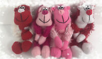 "Lot Of 4 Valentine Monkeys Gorillas 7"" Plush Hanging Pink Red White"