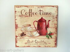 WALL Picture PLAQUE - VINTAGE/ RETRO style - Handmade  / COFFEE TIME / DECOUPAGE