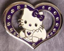 Pewter Belt Buckle Cartoon Hello Kitty Heart NEW purple