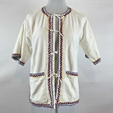 Ladies Embroidered Hippy Shirt Tie Front Beach Shirt S/m Size Smock