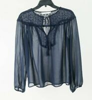 Zara Basic Floral Eyelet Chiffon Blouse Top Shirt Navy Blue Size Medium