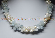 """3 Rows Real Natural White Pearl Blue Aquamarine Gems Jewelry Necklaces 18"""""""