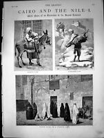 Old Print Cairo And The Nile Women Going To Turkish Bath Donkey Boy 1880 19th