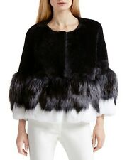 $2395 HALSTON HERITAGE Real Fur Lamb Fox Rabbit Jacket Coat + burberry hanger