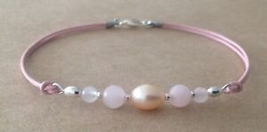 PINK CFW Pearl+ROSE QUARTZ, Leather Cord, Silver Plated, Friendship Bracelet