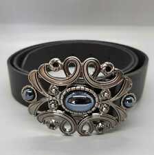 Gothic Onyx Black Belt Buckle Ladies Mens Gift Gaelic Celtic Norse Pewter UK