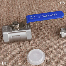 "Ball valve 1/2"" inch Stainless steel one piece CF8 NPT Thread water oil gas US"