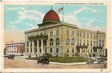 City Hall and Fire Department in Little Rock AR Postcard 1927