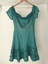 Catherine Malandrino Womens Silk Blend Teal Cocktail Dress, AU Size 12 / US 8
