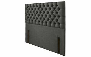 "Headboard 54"" Height Upholstered Linen Fabric Buttoned Floor Standing Bed Head"