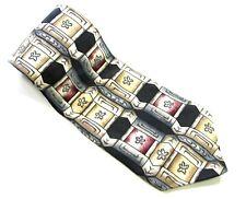 BASS Neck Tie BLACK GRAY CREAM Squares Geo 100% SILK Vintage Necktie Made USA