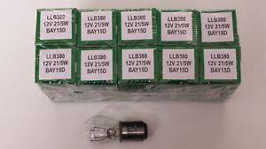 Lucas LLB380 380 Bay15d SBC 12v 21/5W  Brake Stop Tail Light  bulbs x 10