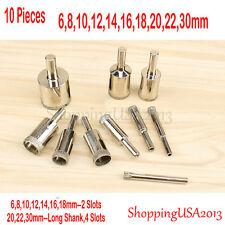 10 Pc 6-30mm Diamond Drill Bits Chucks Set Hole Saw Cutter Tool Glass Granite@@