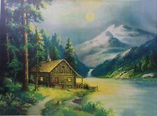 Cabin on Stream in Moonlight , Wm Thompson like