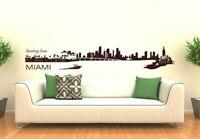 Wall Vinyl Sticker Bedroom Decal Miami Skyline Town City (Z983)