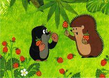 Ansichtskarte: Der kleine Maulwurf und Igel mit Erdbeeren - The little mole