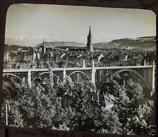 VICTORIAN Glass Magic Lantern Slide BRIDGE AT BONN C1890  PHOTO SWITZERLAND