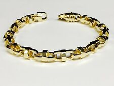 14k Solid Yellow Gold Anchor Mariner chain Bracelet 7.9 MM 40 grams  8.75""