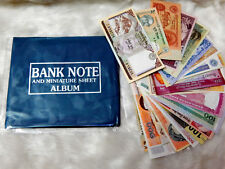Premier 50+ Currency Album with 15 Different Old/UNC Foreign World Banknotes Lot