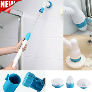 3 Head Spin Electric Cleaning Brush Bathroom Mop Rechargeable Floor Scrubber US
