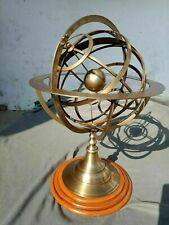 Antique Brass Armillary Sphere Engraved Nautical Astrolabe Rashi W/ Wood Base