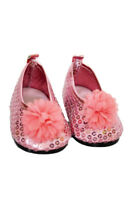 Pink Sequin Flower Flats for Wellie Wisher Dolls