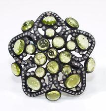 Victorian 9.50ctw AAA Gem Peridot & Rose Cut Diamond Sterling Silver Ring 14g
