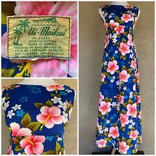 """🌺 """"Ui Maikai"""" Vintage Barkcloth Muumuu Maxi-Dress Size S"""