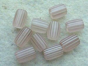10-VENETIAN-ANTIQUE-TRANSLUCENT GOOSEBERRY-WHITE-STRIPES GLASS TRADE BEADS