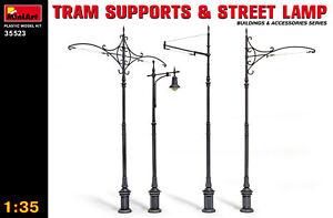 Miniart 35523 - 1/35 Tram Supports & Street Lamp Scale Plastic Model Kit