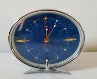 """Vintage Diamond Alarm Clock Model Blue Excellent Condition 5""""Long"""