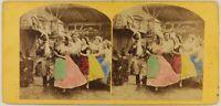 Danza Tradizionale Scena Da Genere Foto Stereo c1860 Vintage Albumina