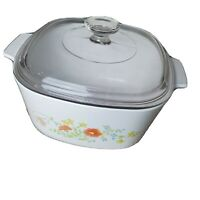 Vintage Corning Ware A-3-B Wild Flowers 3 Liter Casserole Baking Dish With Lid