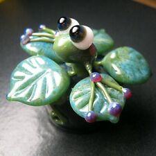 Boomwire Glass Flower Pot Frog Mini Paperweight lampwork handmade figurine art