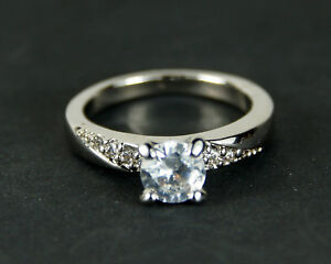 Women's White Gold Filled Clear Crystal Solitaire Ring
