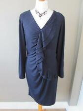 M & S PER UNA Ladies Navy Blue Stretcy Jersey Dress Waterfall Ruffle Size 14 VGC