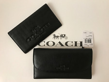 NWT Coach BLACK Pebbled Leather Checkbook Wallet F52715  -New$250