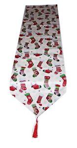Xmas 2 meters long table cotton table runner Santas Stockings